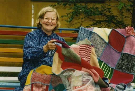 My mother Birgit Rancken with Mother Teresa blankets