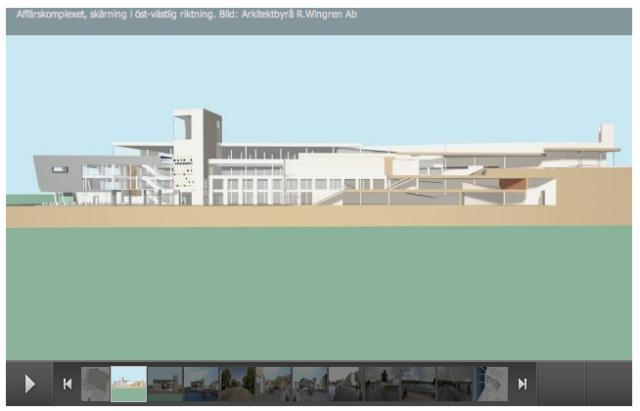Affärskomplexet, skärning i öst-västlig riktning. Bild: Arkitektbyrå R.Wingren Ab