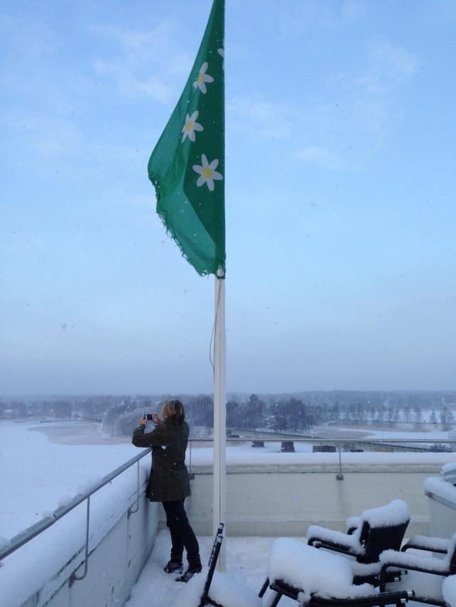 Kvinna med flagga.  Foto Johanna Adebäck